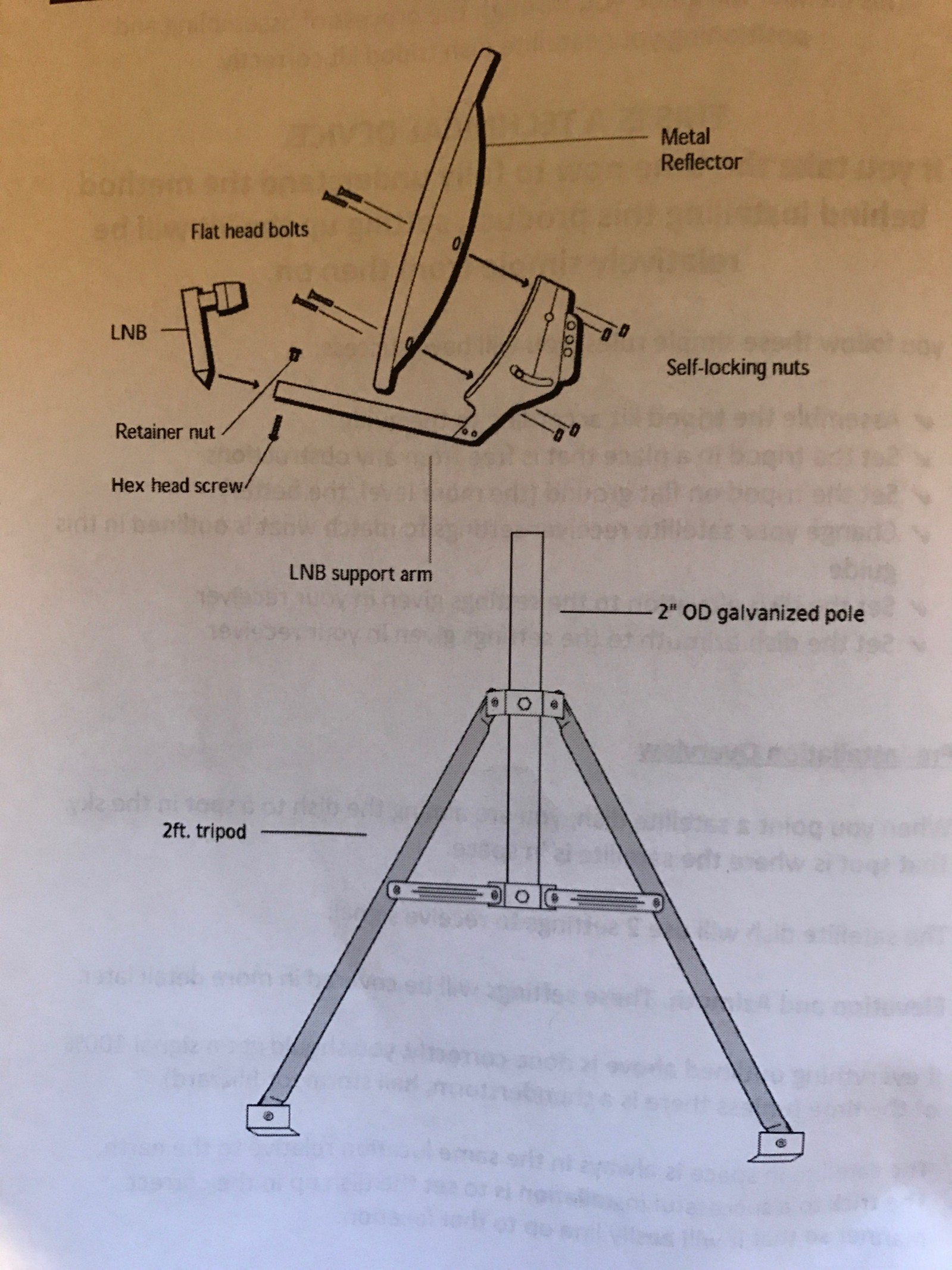 hight resolution of we have a different lnb and lnb mounting bracket which is mounted slightly different than pictured here the tripod requires no assembly and simply unfolds