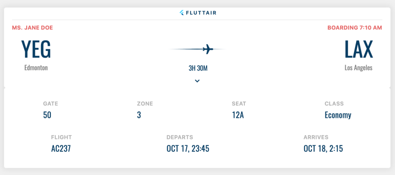 Step 2 : Flutter Vignette (Boarding Pass)