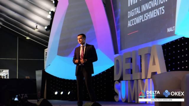 DELTA Summit OKEx Malta Tech Week—Silvio Schembri, Parliamentary Secretary of Malta, at opening of DELTA Summit Day 1