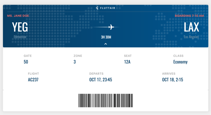 Step 3: Flutter Vignette (Boarding Pass)