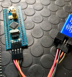 stm32 blue pill with headers left and st link v2 usb debugger right  [ 1600 x 1087 Pixel ]