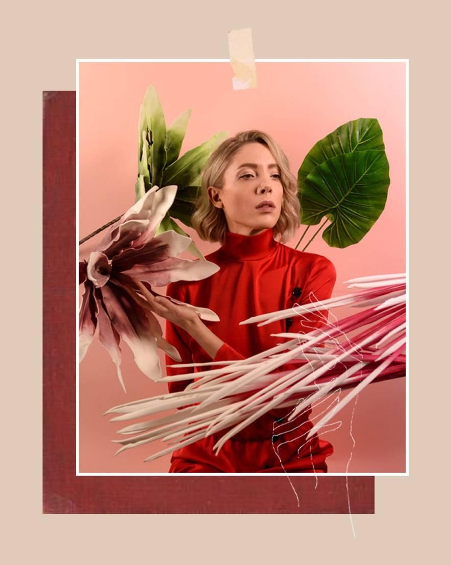 Red silk turtleneck shirt maxi dress