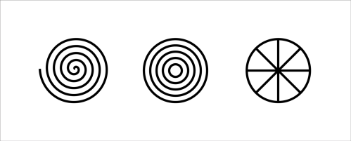 small resolution of the three oldest archetypes of the circle diagram spiral concentric rings and sectioned circle