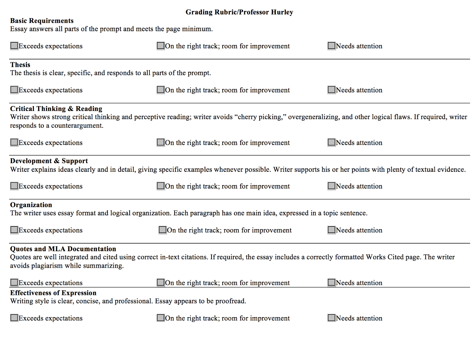 Grading Rubric For Essays In College