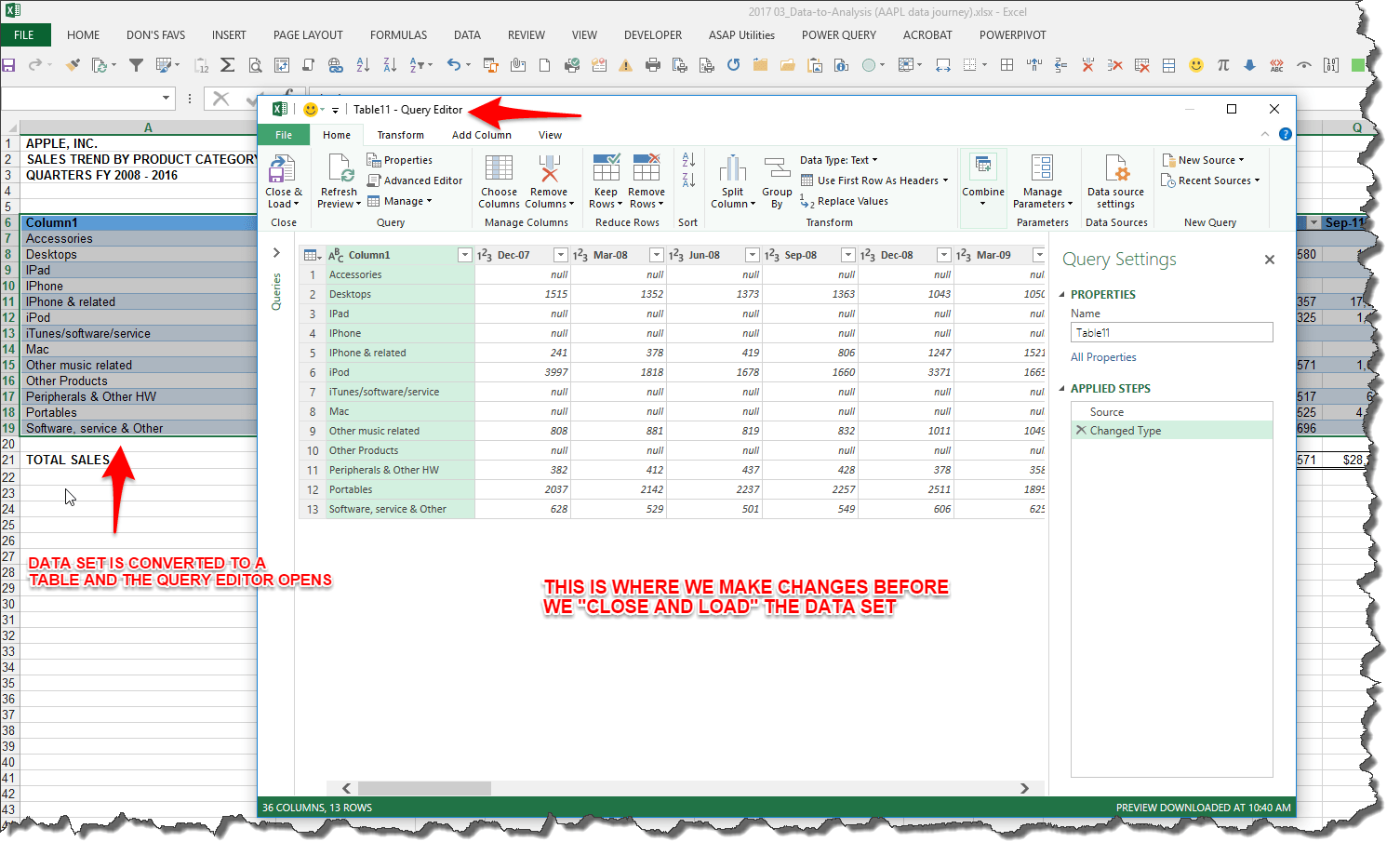 Excel Worksheet Power Query