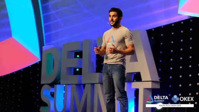 DELTA Summit OKEx Malta Tech Week—Dr Abdalla Kablan at the opening of DELTA Summit Day 1