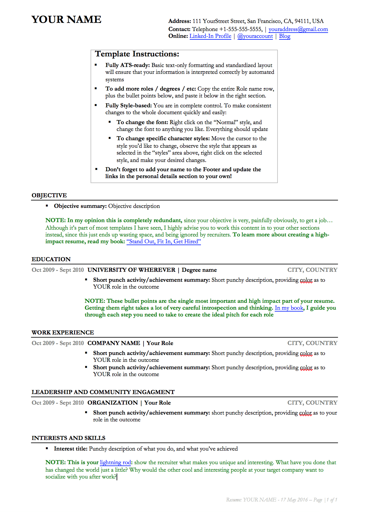 Download And Use This Resume Template (Link)