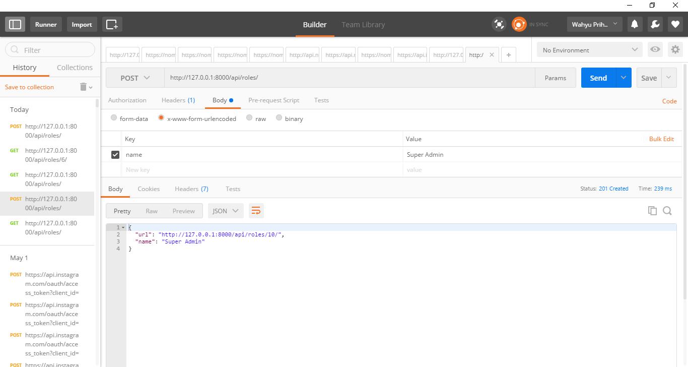 Django Rest Framework + API Documentation + Unit Testing