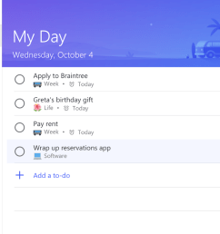 to do s my day list will recommend tasks if you click the top right light bulb  [ 1600 x 803 Pixel ]