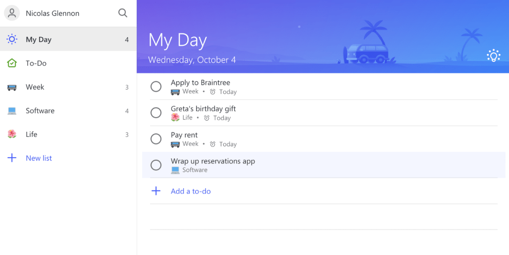 medium resolution of to do s my day list will recommend tasks if you click the top right light bulb