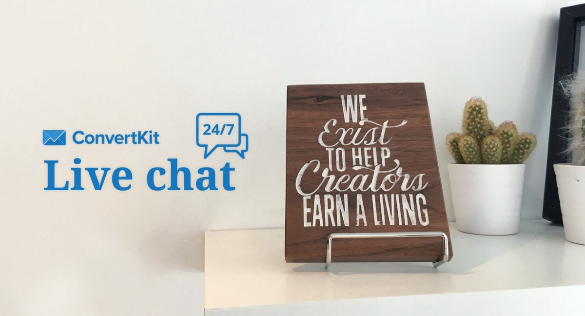 convertkit live chat is available 24/7/365