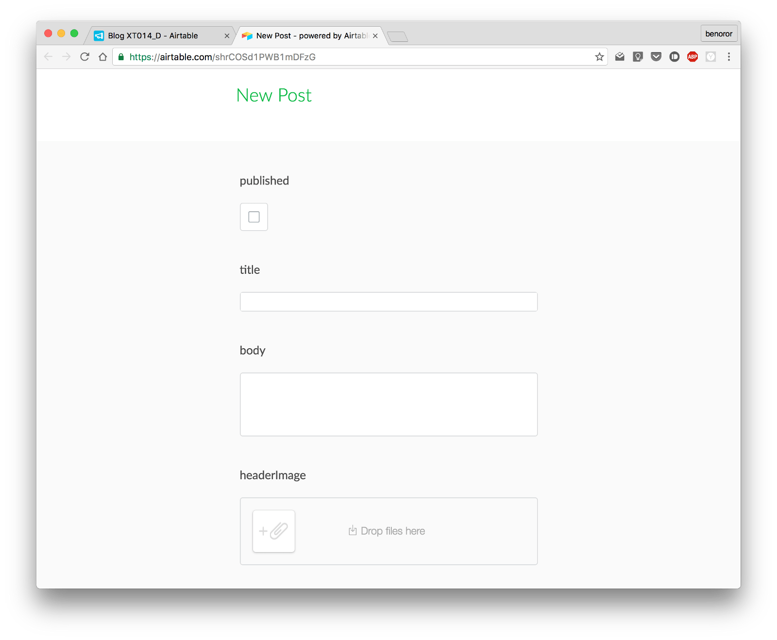 Creating a serverless web app with Airtable, Glitch, Node