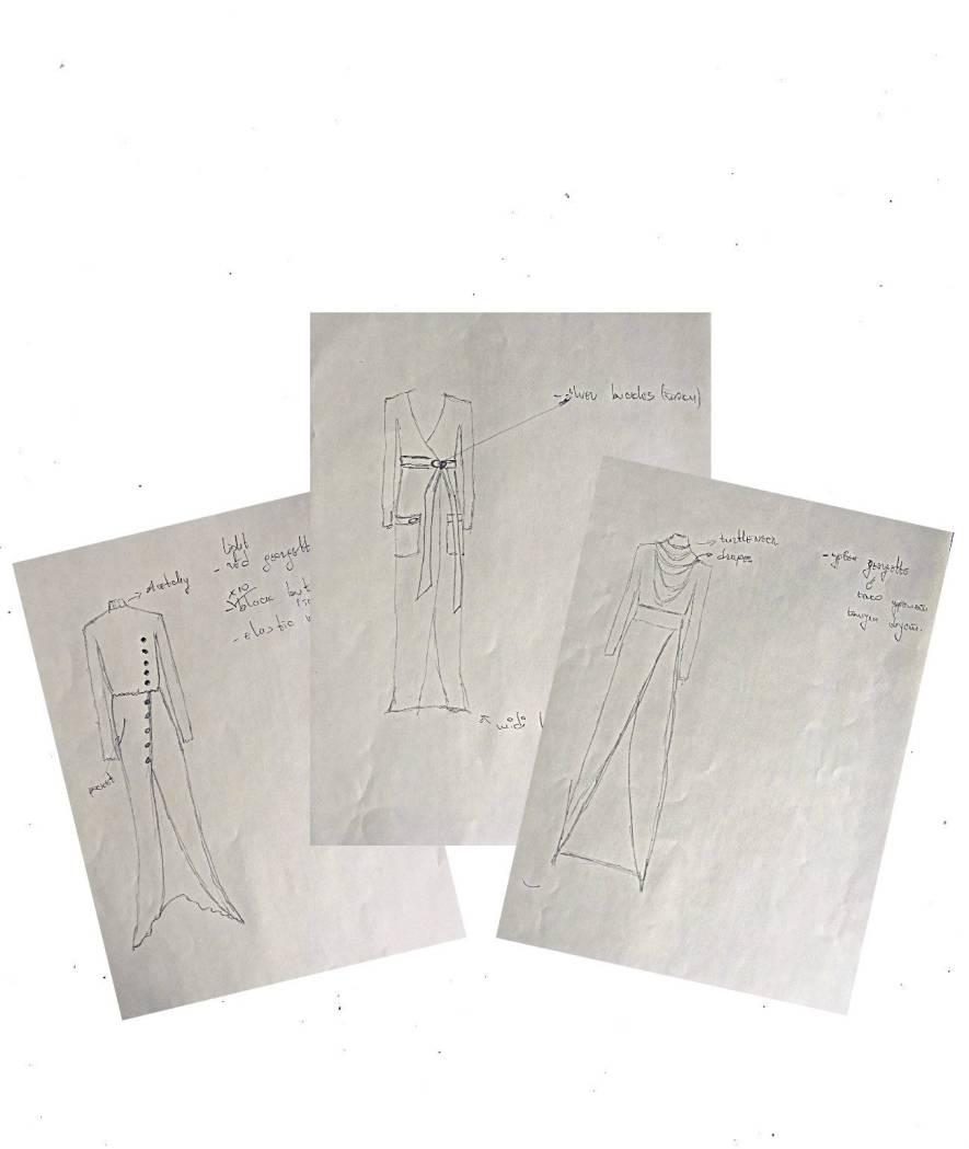 Design sketches for Bastet Noir's collection