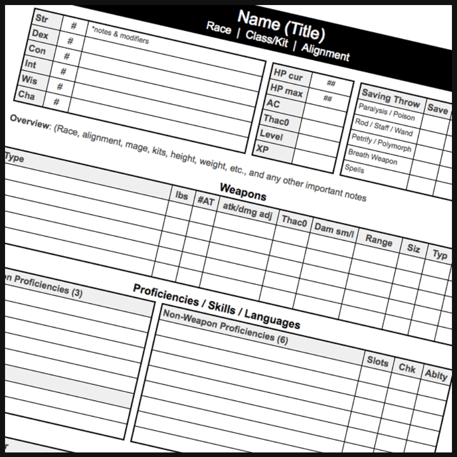 Advanced Dungeons & Dragons 2nd Edition Character Sheet