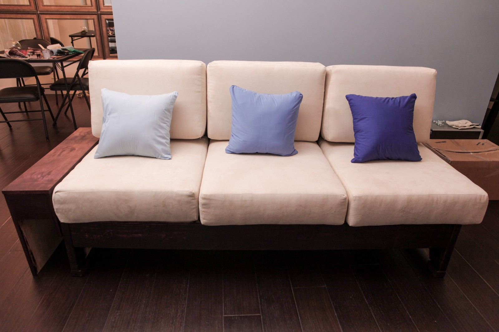 modern twine curved arm sofa chesterfield style sofas so you want to make a david hsu medium the completed couch with accent pillows and stained wood