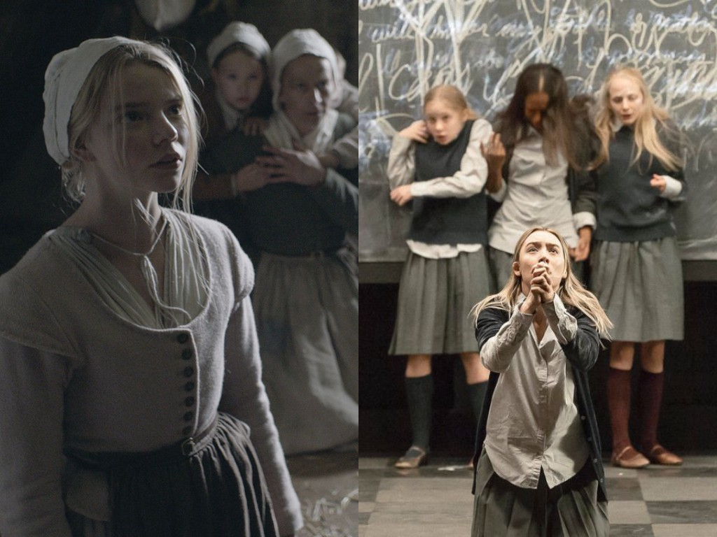 Left: Robert Egger's The Witch (2015). Right: Ivo Van Hove's Broadway revival of The Crucible (2016).