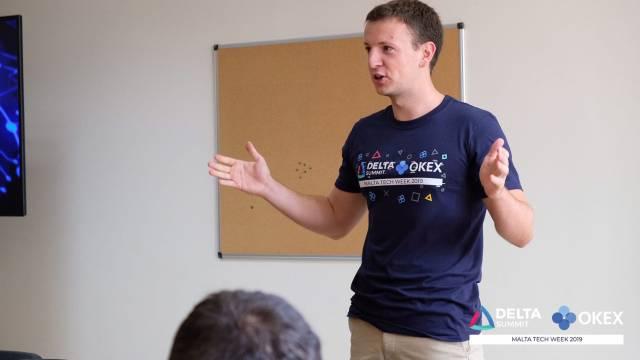 DELTA Summit OKEx Malta Tech Week—Jovan Gavrilovic delivering welcome speech at OKEx Tech Hackethon