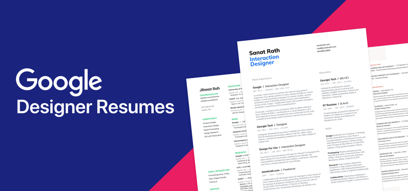 10 Amazing Designer Resumes That Passed Google's Bar
