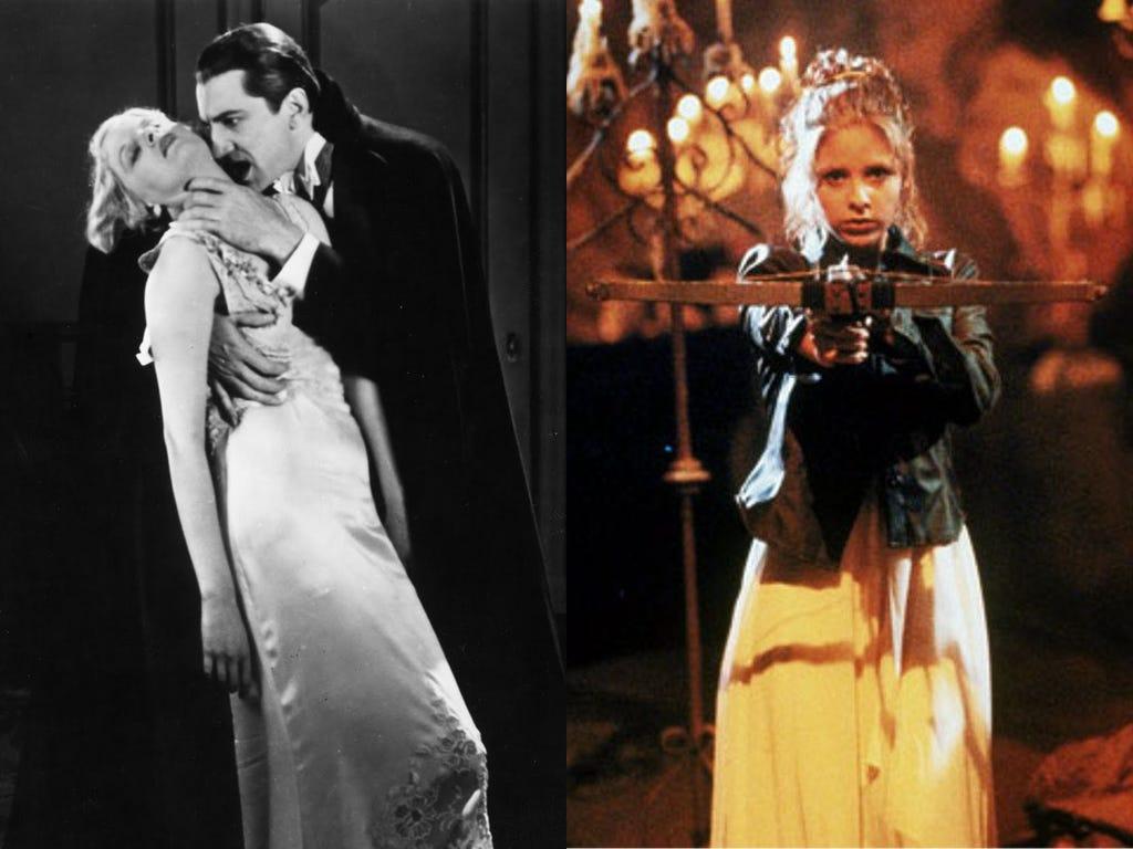 Left: Dracula (1931). Right: Buffy the Vampire Slayer (1997).