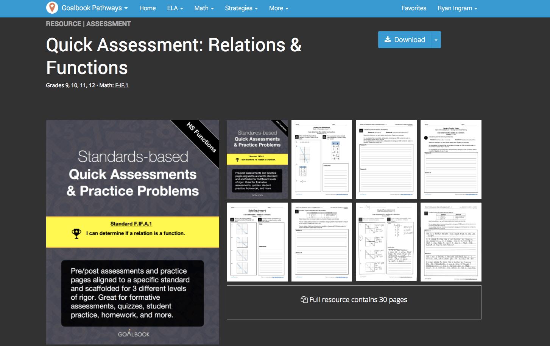 New Math Quick Assessments