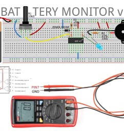 once established limits higher 9 volts and lower v 6 volts monitor the battery until its voltage drops below 6v the led lights and triggers the alarm  [ 1600 x 1195 Pixel ]