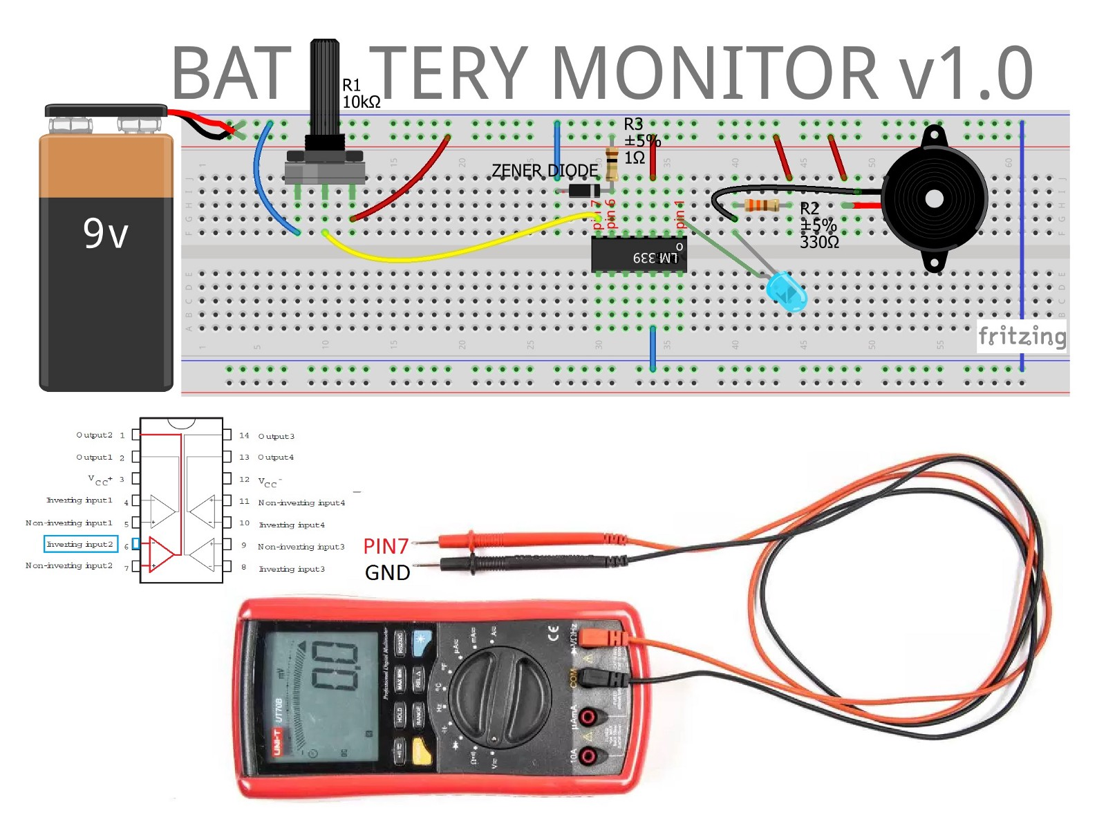 hight resolution of once established limits higher 9 volts and lower v 6 volts monitor the battery until its voltage drops below 6v the led lights and triggers the alarm