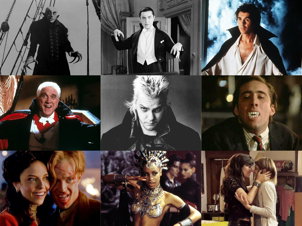 Pop culture vampires across time, from left to right and top to bottom: Nosferatu (1922), Bela Lugosi as Dracula (1931), Frank Langella as Dracula (1979), Leslie Nielsen in Dracula: Dead and Loving It (1995), Kiefer Sutherland in The Lost Boys (1987), Nicolas Cage in Vampire's Kiss (1989), Spike and Drusilla in Buffy the Vampire Slayer (2000), Aaliyah as The Queen of the Damned (2002), and vampire Carmilla Karstein with her human lover, Laura, in the webseries, Carmilla (2014).
