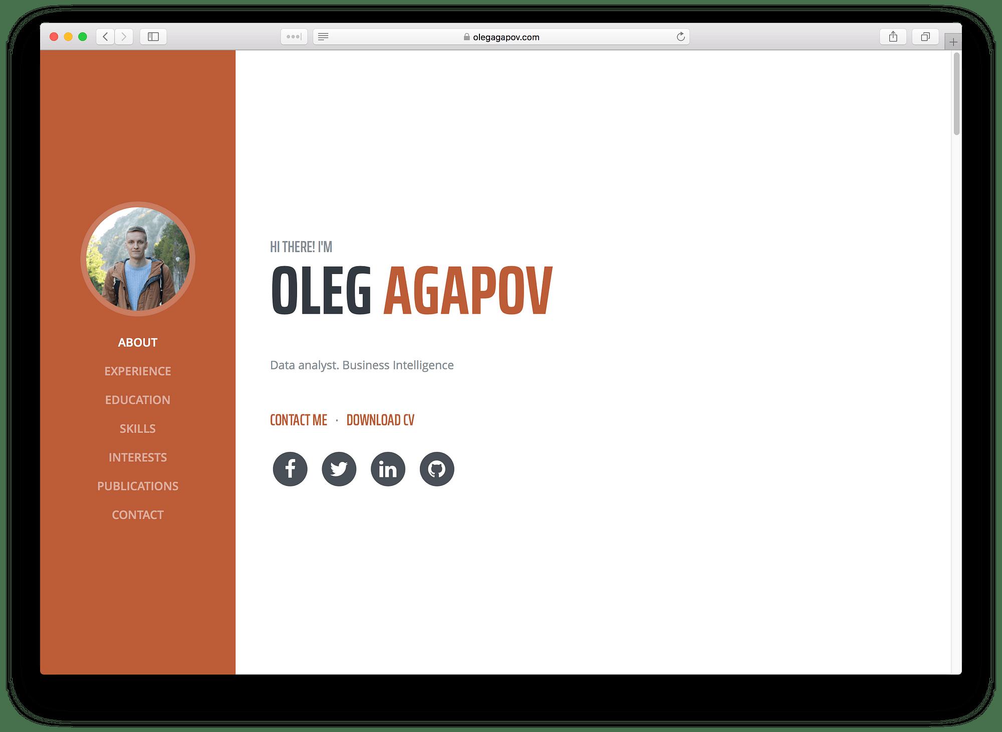 github resume website template