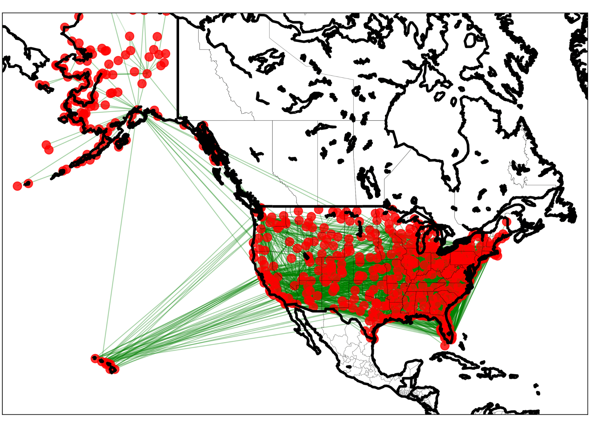 hight resolution of basic graph drawn by networkx and basemap