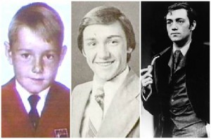 Kevin em 3 fases: criança, no ensino médio e no começo da carreira.