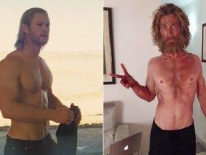 Chris Hemsworth em seu antes de depois de No Coração do Mar.