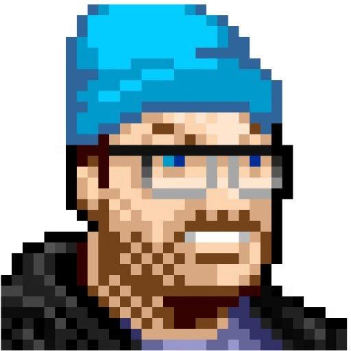 Illustration by Justin Dauer. Pixel portrait of JZ in blue beanie.