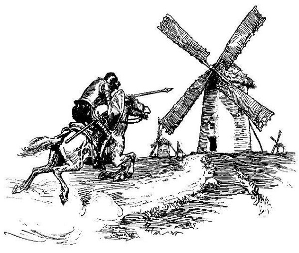 Don Quixote fighting the windmills illustration