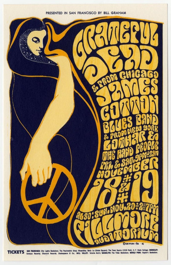 Illustrated poster for the Grateful Dead at the Fillmore auditorium.