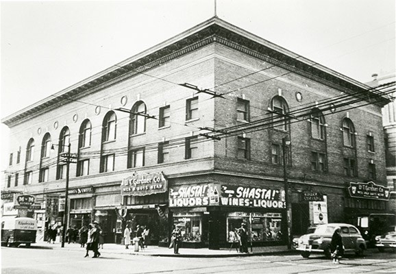 Black and white photo of the exterior of the Fillmore, which housed a roller skating rink in 1949.