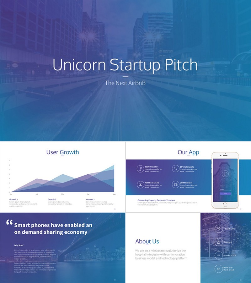 Unicorn — Creative PPT Startup Pitch Deck With Cool Slides