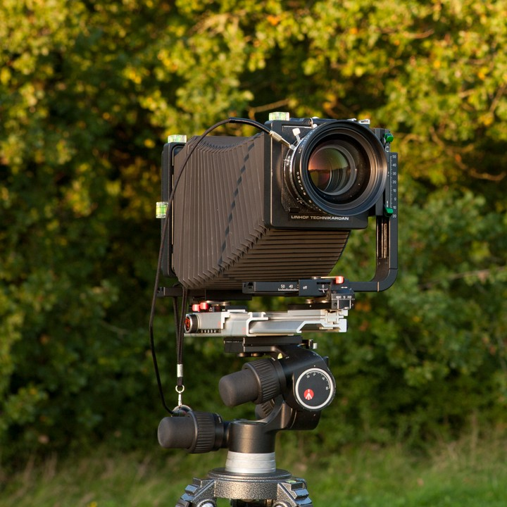 Large format camera with shift movement to manage vertical perspective