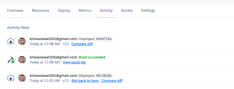 Heroku auto-deploy activity in the Activity tab