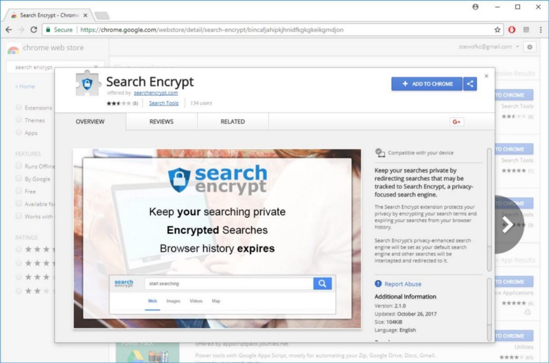 Chrome Web Store - Search Encrypt