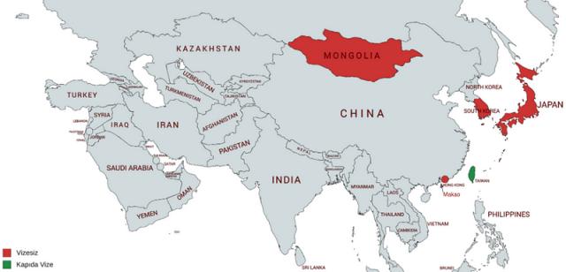 doğu asya vizesiz ülkeler haritası