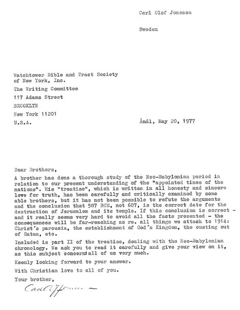 The Initial Letter Jonsson Wrote To The Watchtower Writing Committee In  1977.
