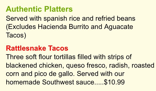 Screencap taken from the Tijuana Taxi Co Menue describing Rattlesnake Tacos