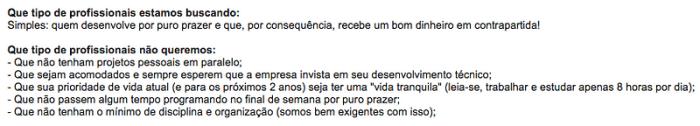 Exemplo de uma vaga postada na lista Python Brasil