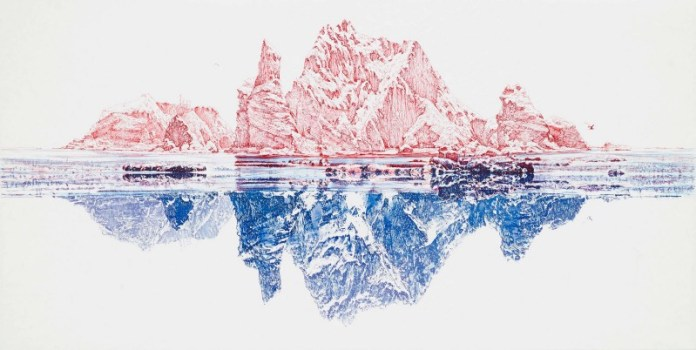 collaboration art piece #1: Pen Drawing of Dokdo (photo from Pulse 9 website)