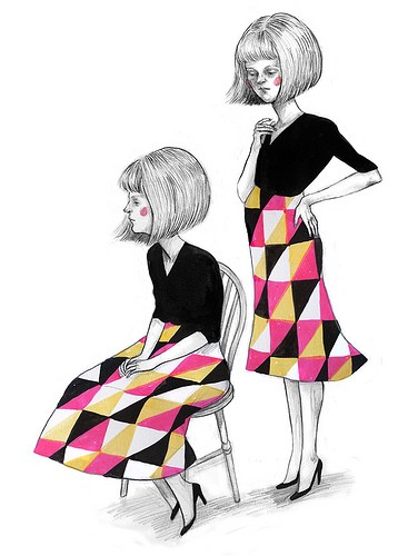 A person sits on a chair, looking into the distance. We see their profile. Their black top and pink, orange and black patterned skirt are the only parts of the illustration in colour. Behind the chair, the identical person stands, one hand on their hip, looking down.