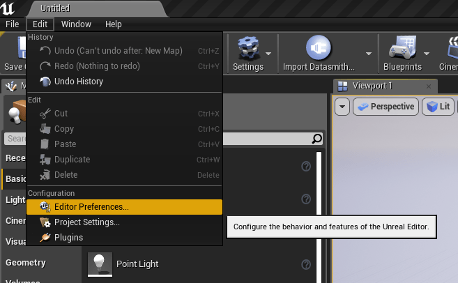 Editor Preferences can be found in the Edit menu