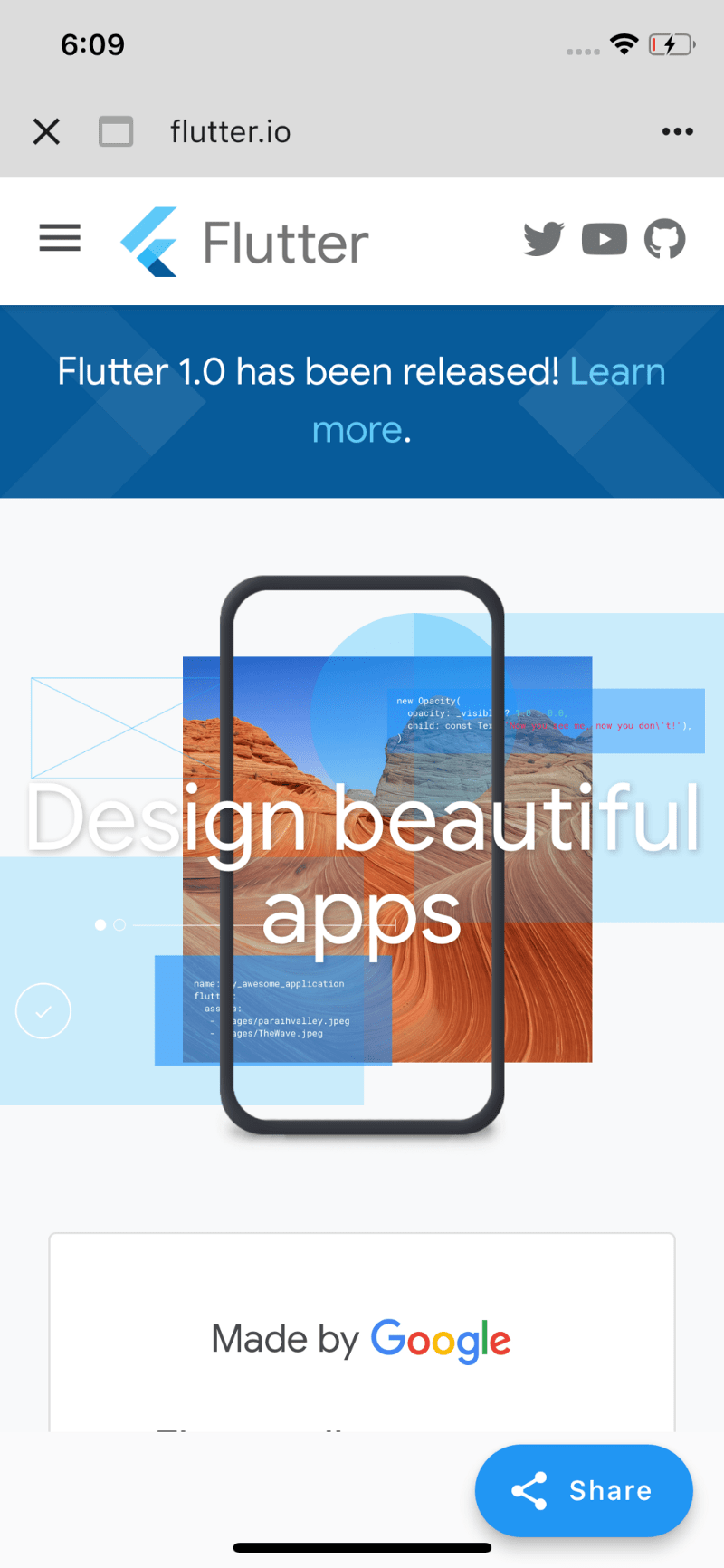 Flutter—WebView and Sharing Apps
