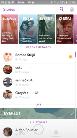 Image of snapchat stories screen.