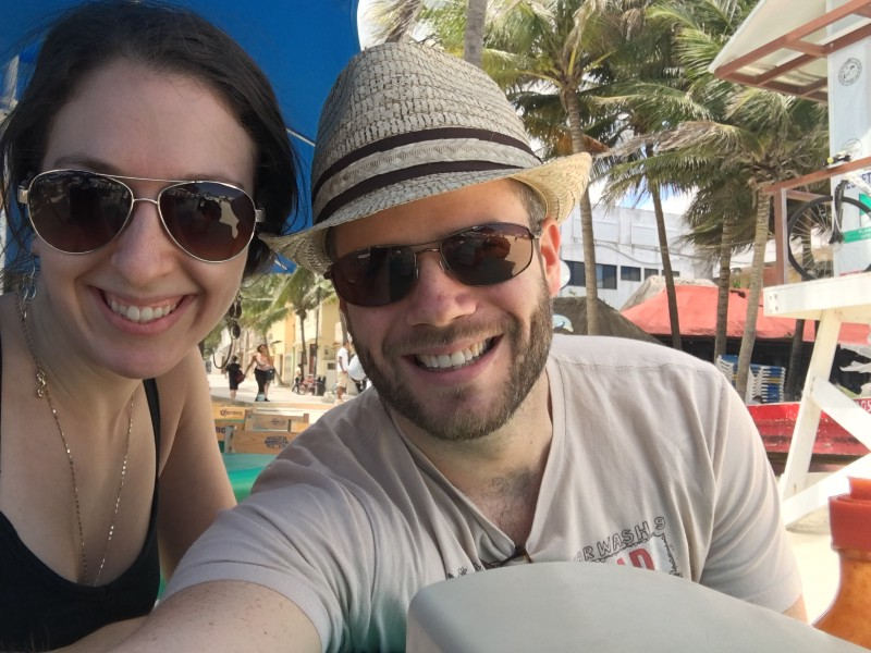 My wife and I on our first remote working trip to Playa del Carmen ??