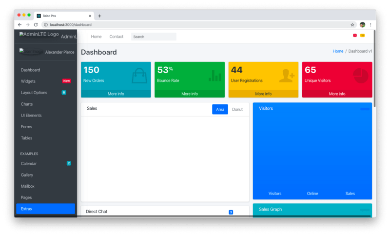Dashboard component page